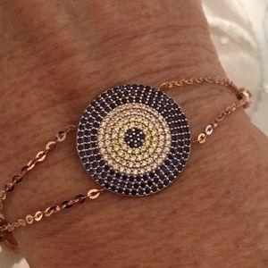 Jewelry - 14K Solid Rose Gold Blue CZ Medallion Bracelet